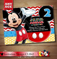 HUGE SELECTION Mickey Mouse Birthday Invitation, Clubhouse Mickey Invitation, Chevron Mickey Invitations, Mickey Photo Invitation on Etsy, $7.00