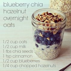 Mix oats, milk, chia seeds & cinnamon in a jar and place in the fridge overnight. Add blueberries & hazelnuts. Enjoy!