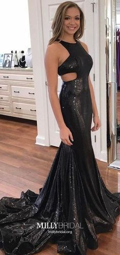 Black Prom Dresses Sheath/Column, Gorgeous Prom Dresses Sequin, V Neck Prom Dresses Sexy, Sparkly Prom Dresses Open Back