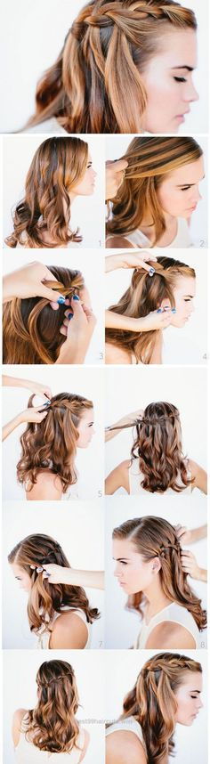 Look Over This Waterfall Braid | Click Pic for 23 Step by Step Hairstyles for Long Hair | DIY Hairstyle Tutorials for Long Hair  The post  Waterfall Braid | Click Pic for 23 Step by Step Hai ..