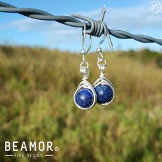 Gemstone Herringbone Weave wrapped Earrings by BeamorFineDesign