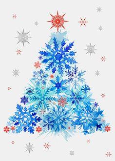 Margaret Berg Art: Blue Watercolor Snowflakes Tree