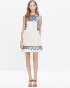 Madewell Embroidered Stitchtake Dress Blue Small #Madewell #Shift
