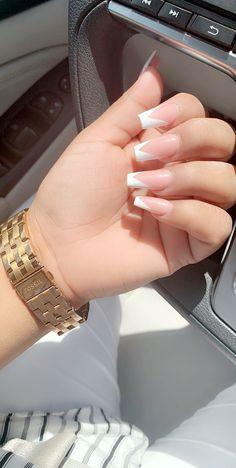 V-Shape French V-Shape French Coffin nails , V-Shape French , Natural<br> White Tip Acrylic Nails, Summer Acrylic Nails, Short Square Acrylic Nails, Nail Swag, Acylic Nails, Wow Nails, Nagel Hacks, Fire Nails, Dream Nails
