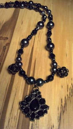 Black+Glass+and+Black+Pearl+Finish+Beaded+21+by+FlowerFelicity,+$20.00
