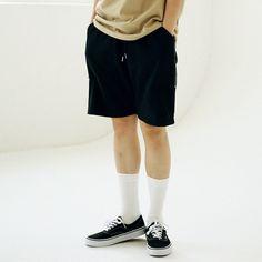 허리밴딩으로 편하고 지퍼디테일 숏팬츠  Massnoun 매스노운 [Massnoun] Unisex Zipper Short Pants IN TENSE MUSSP004-BK