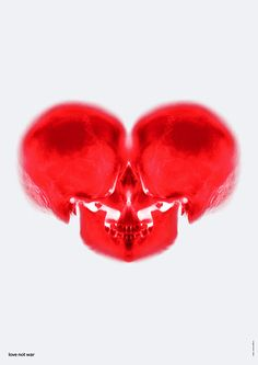 'Skele-Hearts', red Glass Skulls, pop art, illustration, graphic design.