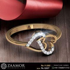 Buy Interlocking Hearts Diamond Engagement Ring in Gms Gold Online Heart Diamond Engagement Ring, Unique Diamond Rings, Gold Ring Designs, Gold Jewellery Design, Gold Rings Jewelry, Heart Jewelry, Couple Ring Design, Gold Finger Rings, Fashion Rings