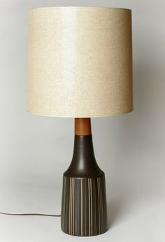 Martz Marshall Studios Brown Striped Pottery Lamp