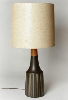 Martz Marshall Studios Brown Striped Pottery Lamp