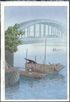 HASUI Japanese Woodblock Print Foggy Day Eitai Bridge 1937   eBay