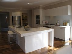 u-shaped kitchen with island | Pic of how our Caesarstone will look when we have it installed.