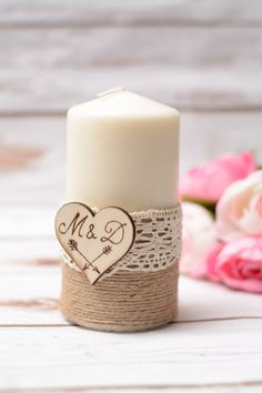 Wedding candle Personalized Rustic Unity Candle by HappyWeddingArt