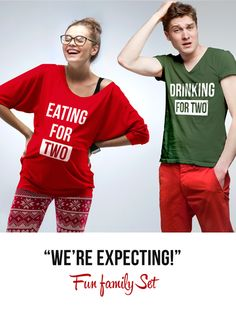 """""""We're expecting"""" Set - Eating for two / Drinking for two"""