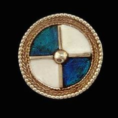 Enamelled quartered brooch  Cold enamel shield brooch with quartered design. Suitable for Viking or Saxon. Available in any colour scheme. 2.8cm.  Available in Silver and Bronze. From: http://www.danegeld.co.uk/userimages/procart3.htm