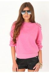 Pippa Lightweight Studded Shoulder Sweatshirt