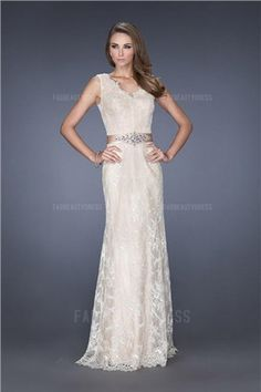 Sheath/Column V-neck Floor-length Lace Evening Dress