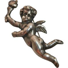 Winged Cherub Angel Sterling Pin Carrying A Torch