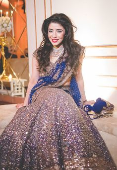 Sangeet Lehengas - Blue Shimmer Lehenga with Silver Shimmer | Royal Blue Dupatta with Dull Gold Work | WedMeGood #wedmegood #lehenga #blue #shimmer