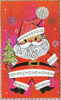 vintage Santa card  → For more, please visit me at: www.facebook.com/jolly.ollie.77