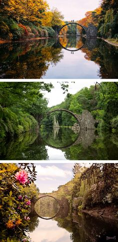 Located in Kromlauer Park in Germany is the Rakotzbrücke, or devil's bridge.