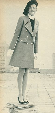 French Elle, February 1968, coat and beret by Saint-Laurent