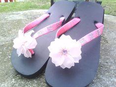 Custom Made Pink Flower Flip Flops by MysticalScentsBridal on Etsy, $25.00