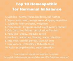 Homeopathic remedies for hormonal imbalance