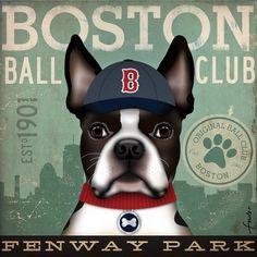 Boston Terrier baseball club BOSTON original illustration graphic art on canvas 12 x 12 x 1.5 by stephen fowler. $80.00, via Etsy.