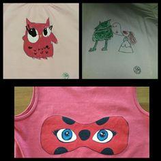 Camisetas pibtadas a mabo con pincel. Regalo personalizado. Ellos dibujan para papa y mama.