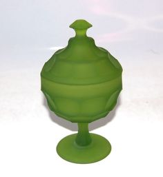Westmoreland Ashburton Compote Candy Bowl Lid Footed Green Mist Marked #Westmoreland #ashburton
