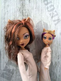 Light brown long (to the calf) dress with long sleeves for 12 inch MH dolls. Handmade Monster High doll clothes. Listing for Diana