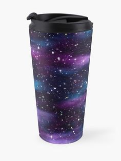'Starry Sky Galaxy' Travel Mug by HavenDesign My Coffee, Coffee Mugs, Galaxy Print, Travel Mugs, Mug Designs, Bold Colors, Tumblers, Cups, Alcohol
