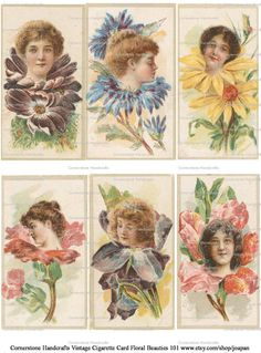 Vintage Floral Beauties 101 Collage Sheet Instant by joapan