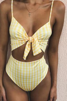 8b0f7a8987436 Floralkini Striped  Print  Knot Front Cut Out  OnePiece  Beachwear  plaid