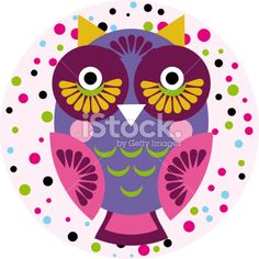 Owl on a pink background in colored polka dots. Vector Royalty Free Stock Vector Art Illustration