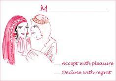 Arabic wedding RSVP card and free printable kits for theme #Arabic wedding