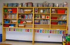 super organized kinder classroom, with everything color-coded and a place for everything!