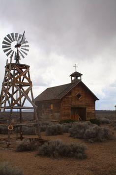 Homestead Era church and windmill, Fort Rock, Oregon