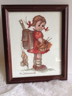 Hummel Cross Stitch  'School Mates  School Girl'  by banelsonart, $45.95