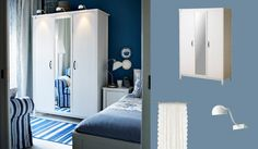 BRUSALI white wardrobe with one mirror door and two white doors - nice colour scheme