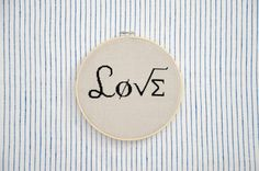 Cross stitched Home Decor LOVE geek math symbols by FireplaceHobby