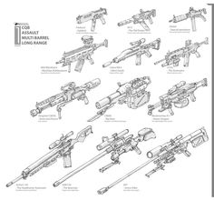 Guns by NOMANSNODEAD equipment gear magic item | Create your own roleplaying game material w/ RPG Bard: www.rpgbard.com | Writing inspiration for Dungeons and Dragons DND D&D Pathfinder PFRPG Warhammer 40k Star Wars Shadowrun Call of Cthulhu Lord of the Rings LoTR + d20 fantasy science fiction scifi horror design | Not Trusty Sword art: click artwork for source