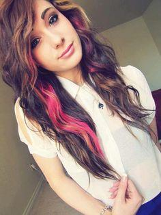 Pink Streaks Hair Color Ideas | Scene Girl with Brown Hair Tumblr