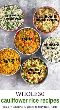 Change up your cauliflower rice with these 6 new cauliflower rice recipes! From coconut curry fajita green goddess cheesy bacon and more! Healthy paleo gluten & dairy free keto friendly vegan friendly ready in under 10 minutes! - Eat the Gains Paleo Menu, Whole Food Recipes, Vegetarian Recipes, Cooking Recipes, Healthy Recipes, Paleo Dairy, Paleo Food, Raw Food, Whole30 Recipes