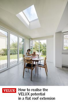 When adding an extension to your home, it's vital to consider how daylight will enter the space. People often think bi-fold or patio doors will bring in enough daylight, but without roof windows bringing in light from above, many extensions are left gloom Kitchen Extension Uk, Roof Extension, Roof Design, House Design, Flat Roof Skylights, Conservatory Dining Room, Bungalow Extensions, Bungalow Renovation, Roof Installation