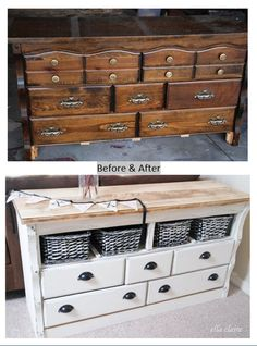Super Ideas For Refinishing Furniture Diy Dresser Ideas Drawers Dresser To Buffet, Sideboard Furniture, Refurbished Furniture, Repurposed Furniture, Furniture Makeover, Dresser Ideas, Diy Dresser Makeover, Dresser To Tv Stand, Diy Furniture Repurpose