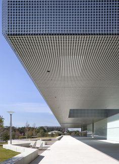 ... Perforated metal cladding - Tampa Museum, Saitowitz - used outdoors as rain screen.