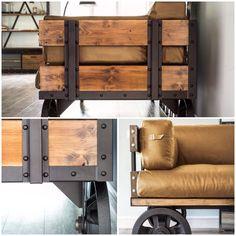 Купить Диван лофт, (кожа) - диван, большой диван, лофт, индустриальный дизайн, диван на колесах