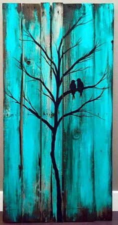 Birds in a tree wood painting - Holzwerkstatt - Wood Pallet Art, Pallet Painting, Pallet Crafts, Barn Wood, Painting On Wood, Wood Crafts, Pallet Projects, Diy Pallet, Painted Wood Pallets